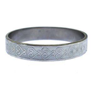 White Enamel Silver Heart Bangle Bracelet